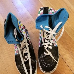 a013af03282 Vans Shoes - Vans Rainbow Checkered High Top Foldable Shoes